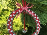 Christmas wreath / ornament with cross and bell charms