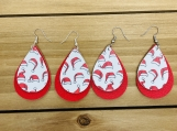 Double Layer Red Christmas Santa Hat Leather Earrings