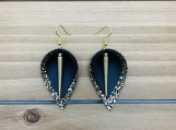Gold Black Spike Charm Leather Earrings