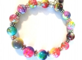 Multi-Colored Bright Ceramic Bead Stretch Bracelet