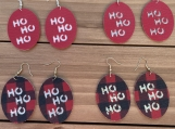 Red and Red Buffalo Check Ho Ho Ho Leather Earrings