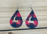 Red Buffalo Check Reindeer Cutout Teardrop Leather Earrings