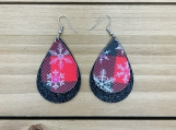 Red Buffalo Check Snowflake Black Glitter Leather Earrings