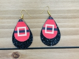 Santa Belt Christmas Double Teardrop Leather Earrings