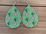The Grinch Christmas Teardrop Leather Earrings Choose Size