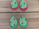 The Grinch Glitter Double Layer Teardrop Leather Earrings