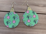 The Grinch Green Christmas Ornament Leather Earrings