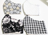 White, black and grey reusable fabric face masks