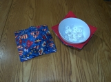 Americana hearts / red Bowl cozies set of 2