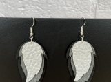 Black Gray Silver Feather Leather Earrings