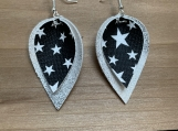 Black White Star Silver Folded Leather Earrings.