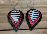 Black White Stripe Metallic Red Leather Earrings