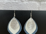 Blue White Silver Leather Earrings