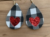 Buffalo Check White Black Heart Glitter Leather Earrings