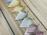 Metallic Folded Upside Down Teardrop Folded Leather Earrings