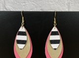 Pink Gold Stripe Leather Earrings
