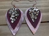 Rose Gold Burgundy Glitter Triple Layer Leather Earrings