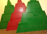 11 Tall Wood Christmas Trees Set of 3 Decoration