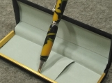 Handmade Acrylic Black and Gold Twist Action Ink Pen
