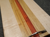 Handmade Figured Maple Padauk and Canarywood Serving Tray w Handles