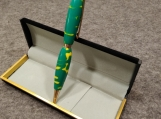 Handmade Green and Yellow Acrylic Twist Action Refillable Ink Pen
