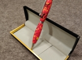 Handmade Red, Black and Yellow Acrylic Twist Action Ink Pen