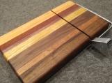 Handmade Walnut, Sapele, Canarywood, Purple Heart, Cherry and Padauk wire Cheese Slicing Board