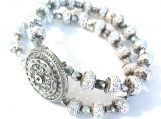 Striking Crystal Center and Silver Sparkle Stretch Bracelet