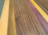Walnut, Cherry Purple and Yellow Heart Edge Grain Cutting Board