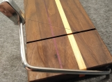 Walnut Wire Cheese Slicing Board w Purple Heart and Maple