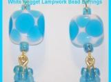 "2.25"" Nugget Lampwork Beads Gold Leverback Earrings"