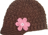 Adult Flowered Visor Beanie - chocolate, pastel pink, rose pink