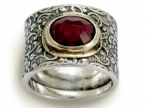 Craving - wide sterling silver filigree band combined gold inlaid garnet.