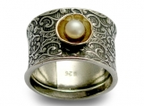 Superstition - Sterling silver filigree band integrated 9K yellow gold with pearl.