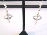 Bright Silver Plated Oval Dangle Earrings