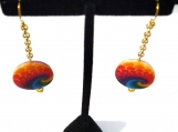 Colorful Painted Shell Wave Dangle Earrings
