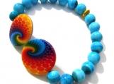 Striking Painted Shell Wave Disk Stretch Bracelet