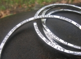 1-Side Inscribed/ Customized Heavy Bangle Bracelet in Sterling Silver . Add a quote, poem or names