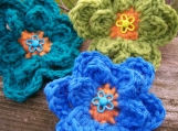 Trio of Crocheted Button Flowers
