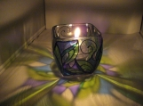 "ENCHANTING HAND PAINTED ""BELLA BLUE"" LEAD FREE CANDLE HOLDER"