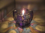 "ENCHANTING HAND PAINTED ""TAHITI"" LEAD FREE CANDLE HOLDER"
