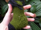 Olive and Black Wool Handknit Sock-A-Roo Catnip Toy