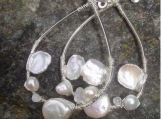 Keshi pearl..moonstone..sterling silver wire wraped hoops