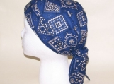 Blue bandana print doo rag