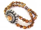 Unique Bronze Faceted Glass Bead Stretch Bracelet