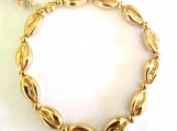 Bright Gold Plated Shell bead Stretch Bracelet with Shell Charm