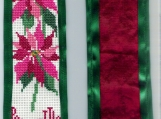 Completed Cross Stitch Poinsettia Bookmark