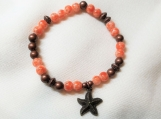 Peach & copper stretch bracelet with starfish charm