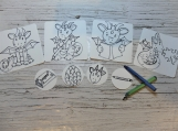Color me stickers: Dragons set of 8 stickers to color
