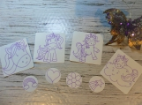 Color me stickers: Unicorns set of 8 stickers to color